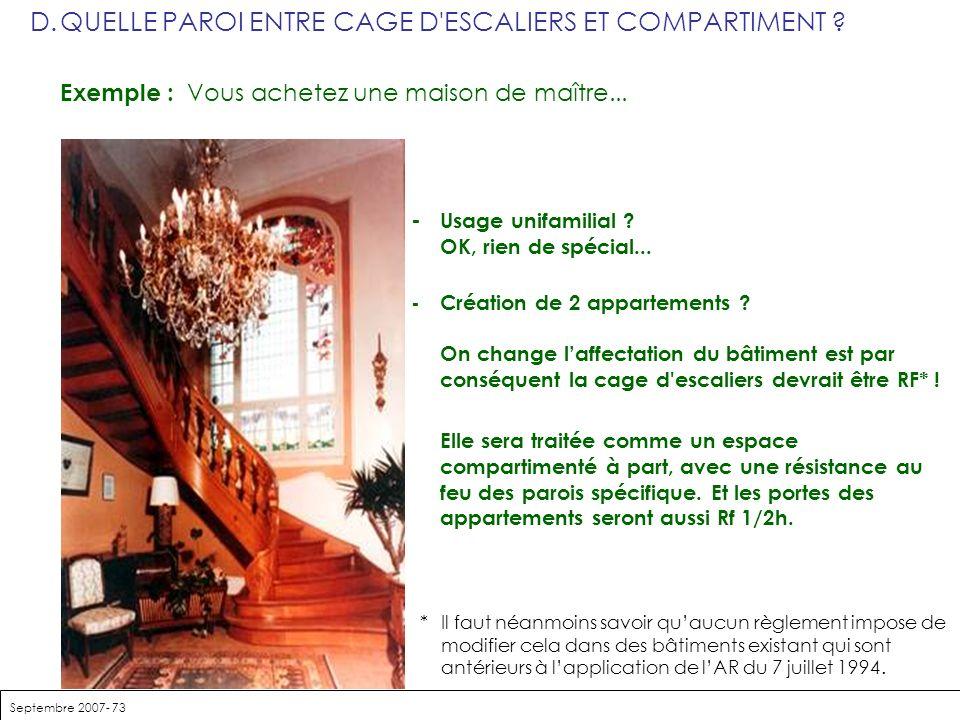 D. QUELLE PAROI ENTRE CAGE D ESCALIERS ET COMPARTIMENT