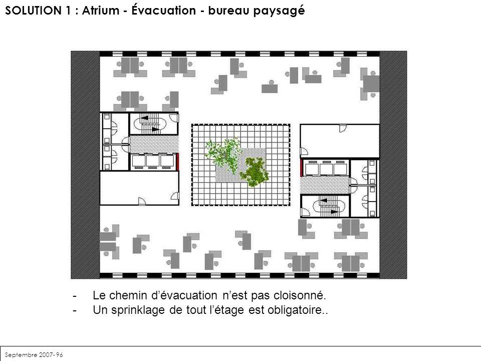 SOLUTION 1 : Atrium - Évacuation - bureau paysagé