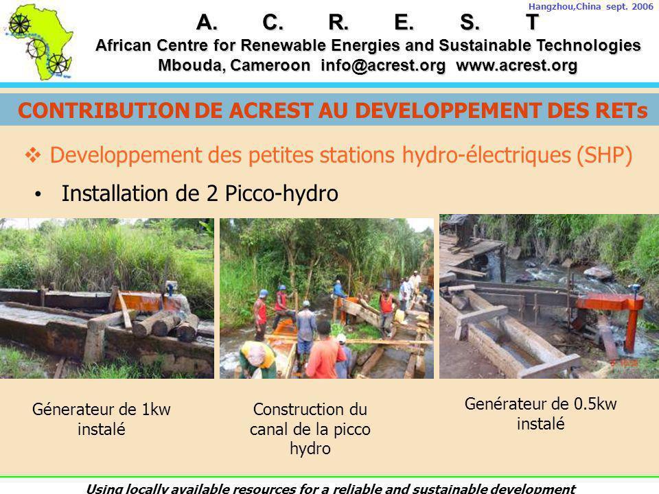 Developpement des petites stations hydro-électriques (SHP)