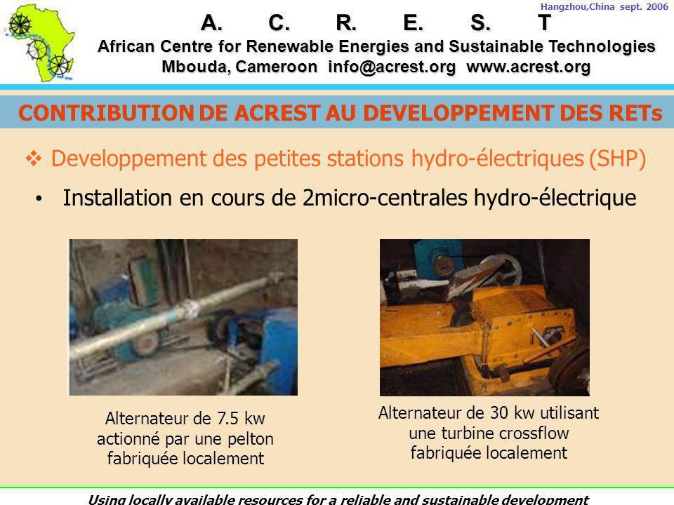 CONTRIBUTION DE ACREST AU DEVELOPPEMENT DES RETs