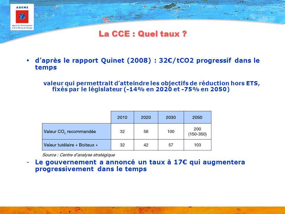 La CCE : Quel taux d'après le rapport Quinet (2008) : 32€/tCO2 progressif dans le temps.
