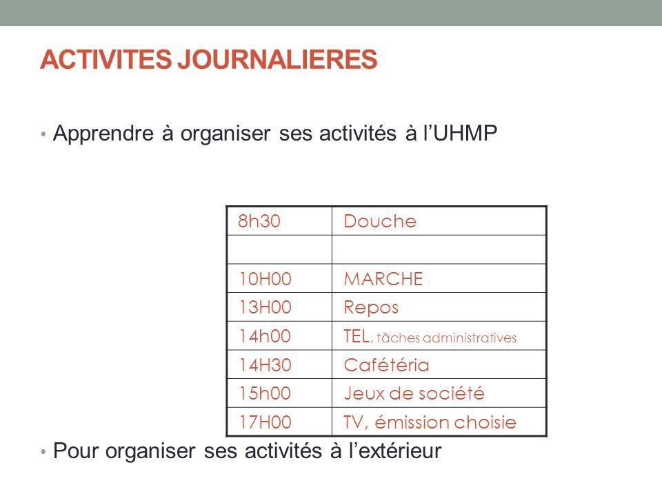ACTIVITES JOURNALIERES