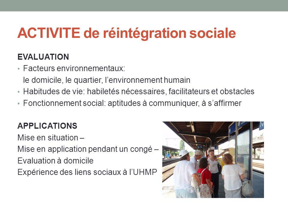 ACTIVITE de réintégration sociale