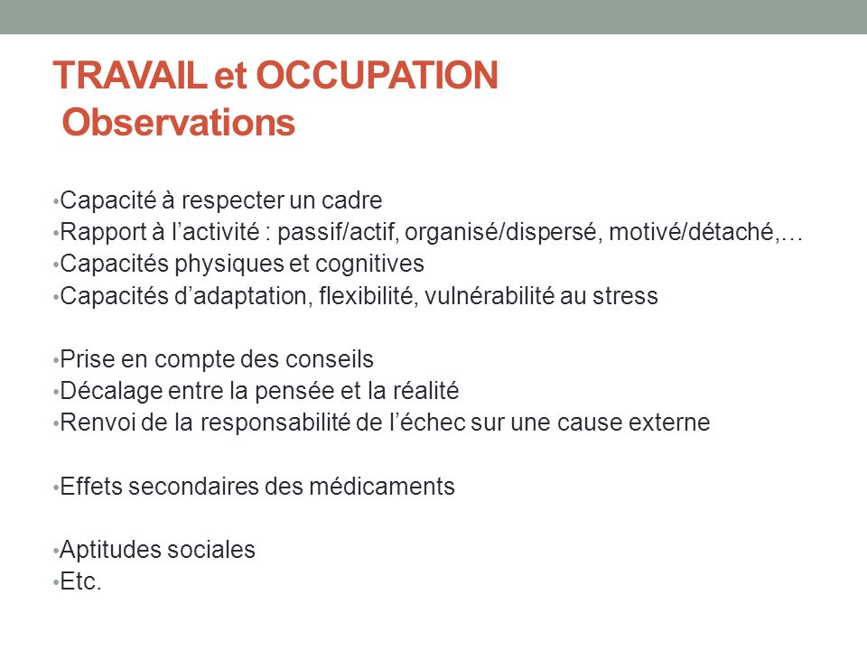 TRAVAIL et OCCUPATION Observations