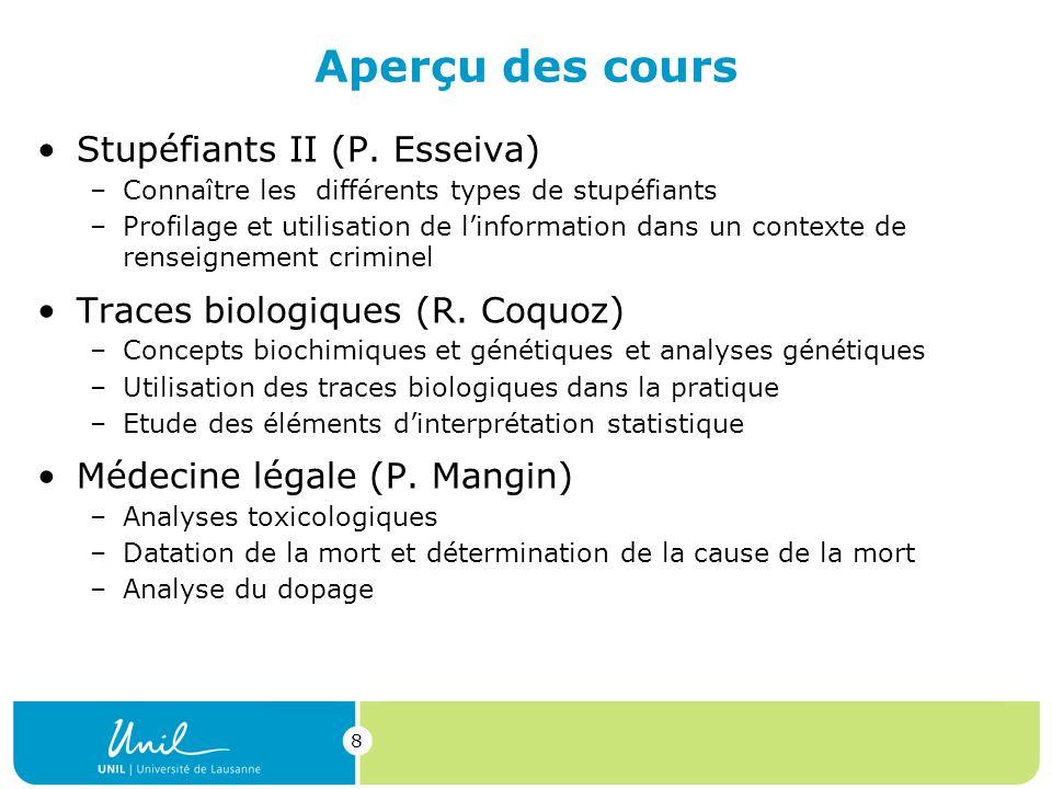 Aperçu des cours Stupéfiants II (P. Esseiva)