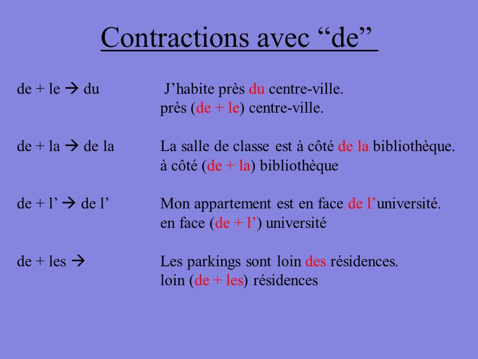 Contractions avec de