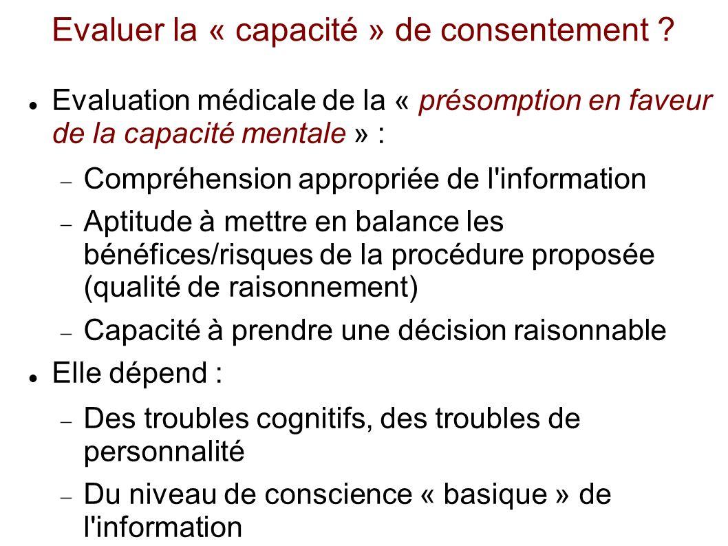 Evaluer la « capacité » de consentement
