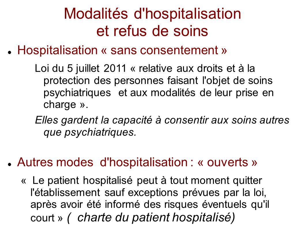 Modalités d hospitalisation et refus de soins