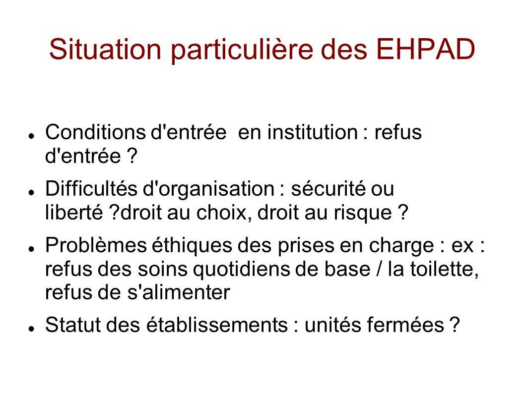 Situation particulière des EHPAD