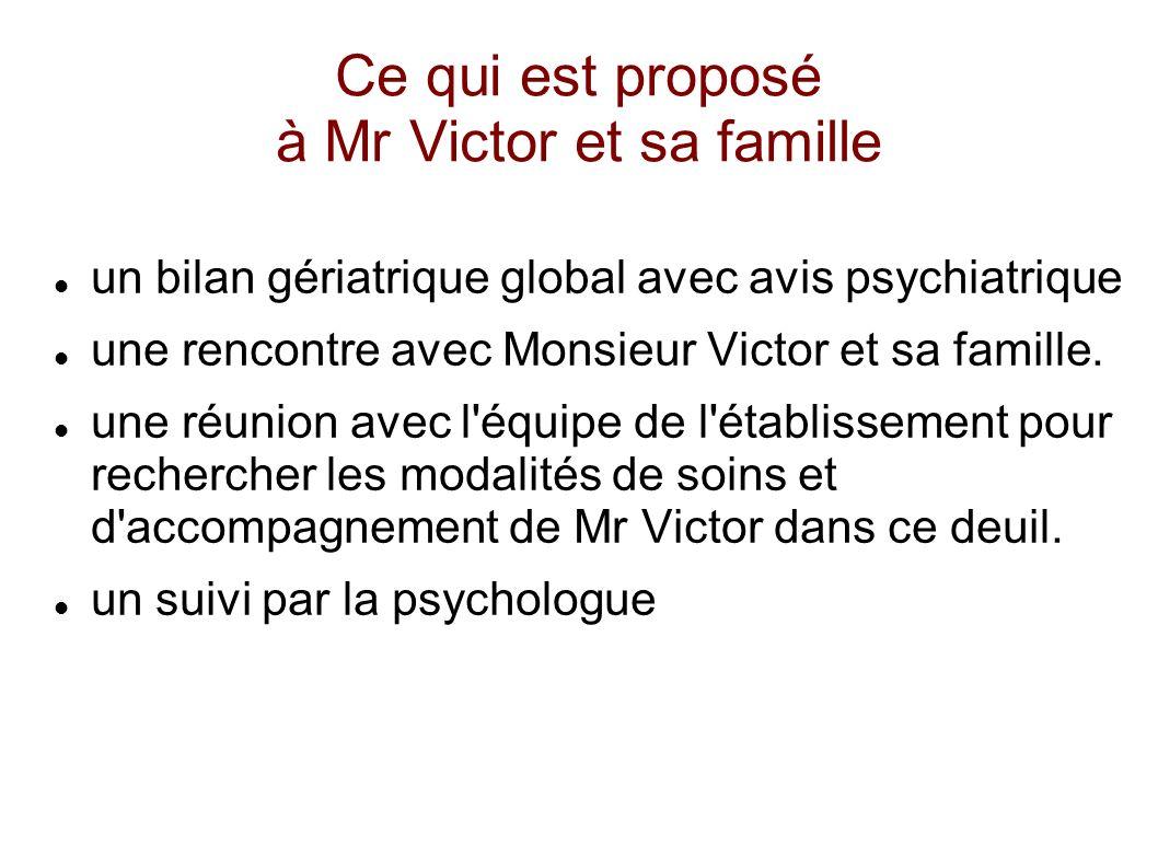 Ce qui est proposé à Mr Victor et sa famille
