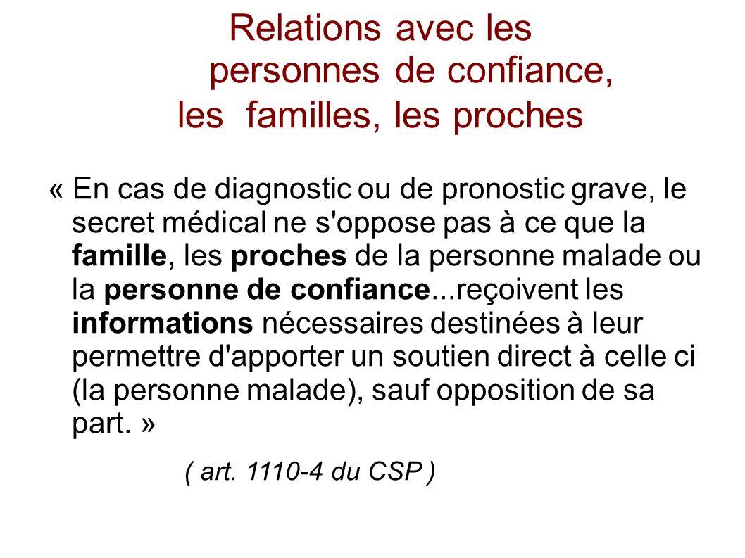 Relations avec les personnes de confiance, les familles, les proches