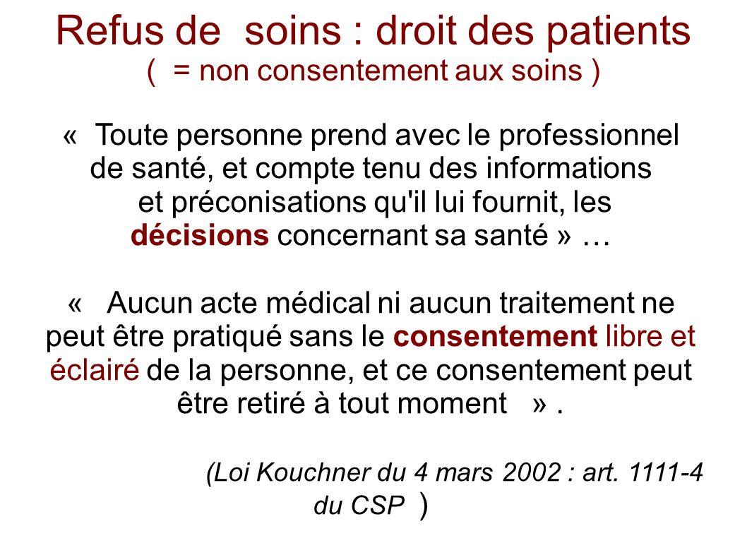 Refus de soins : droit des patients ( = non consentement aux soins )