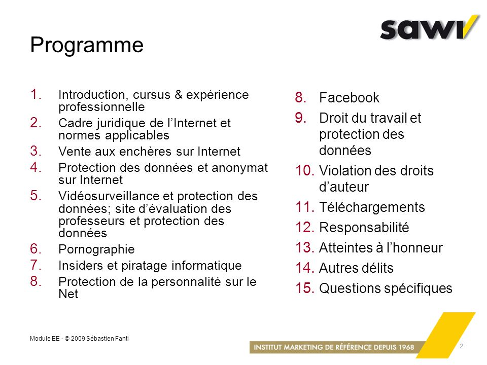 Programme Facebook Droit du travail et protection des données