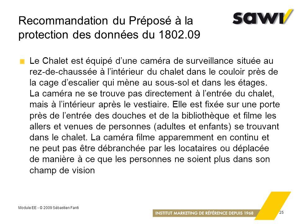 Recommandation du Préposé à la protection des données du 1802.09