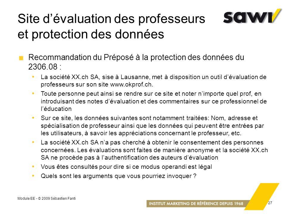 Site d'évaluation des professeurs et protection des données