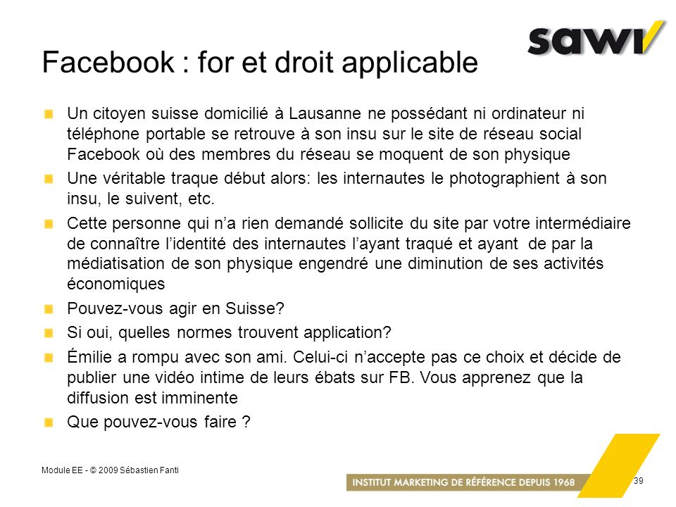 Facebook : for et droit applicable