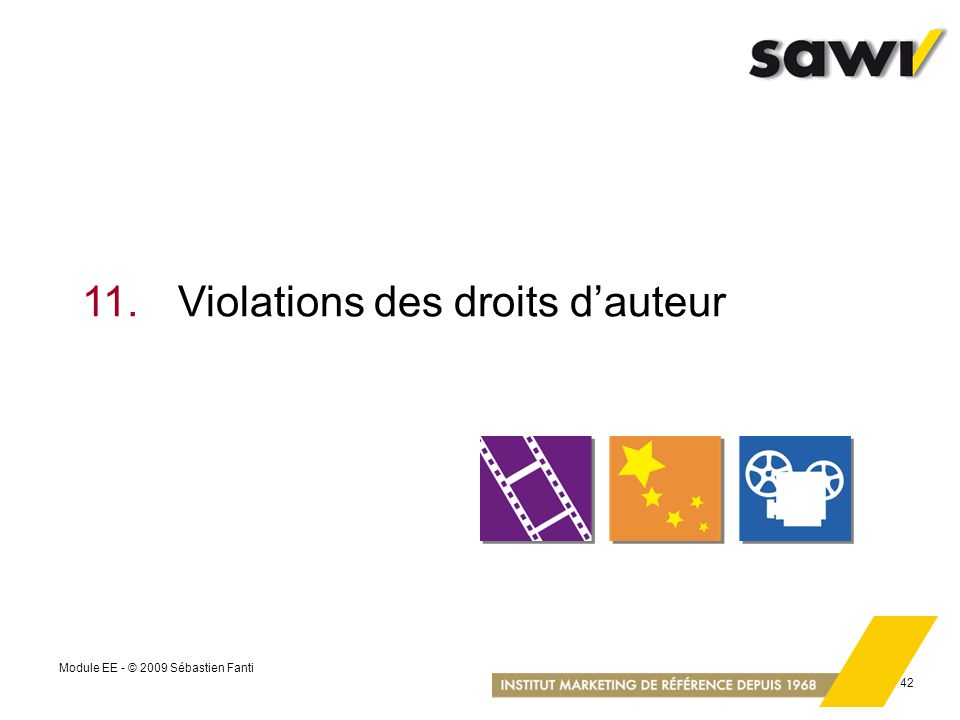 11. Violations des droits d'auteur