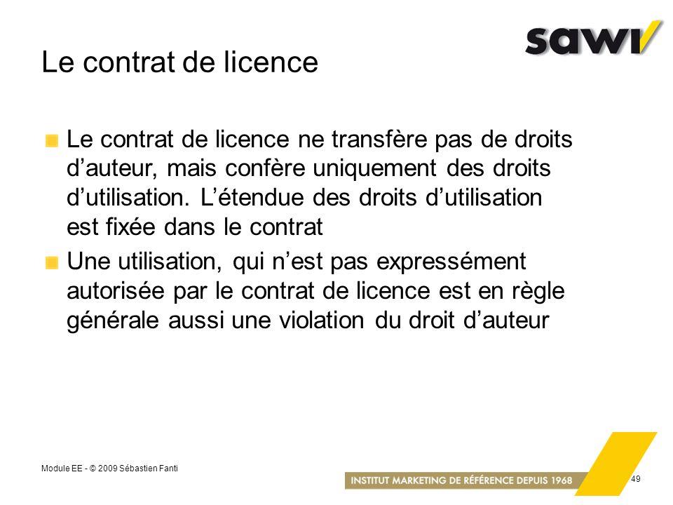 Le contrat de licence