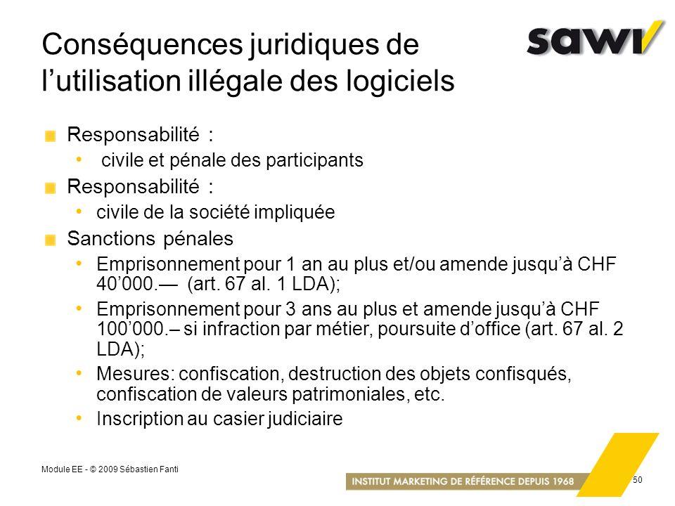 Conséquences juridiques de l'utilisation illégale des logiciels