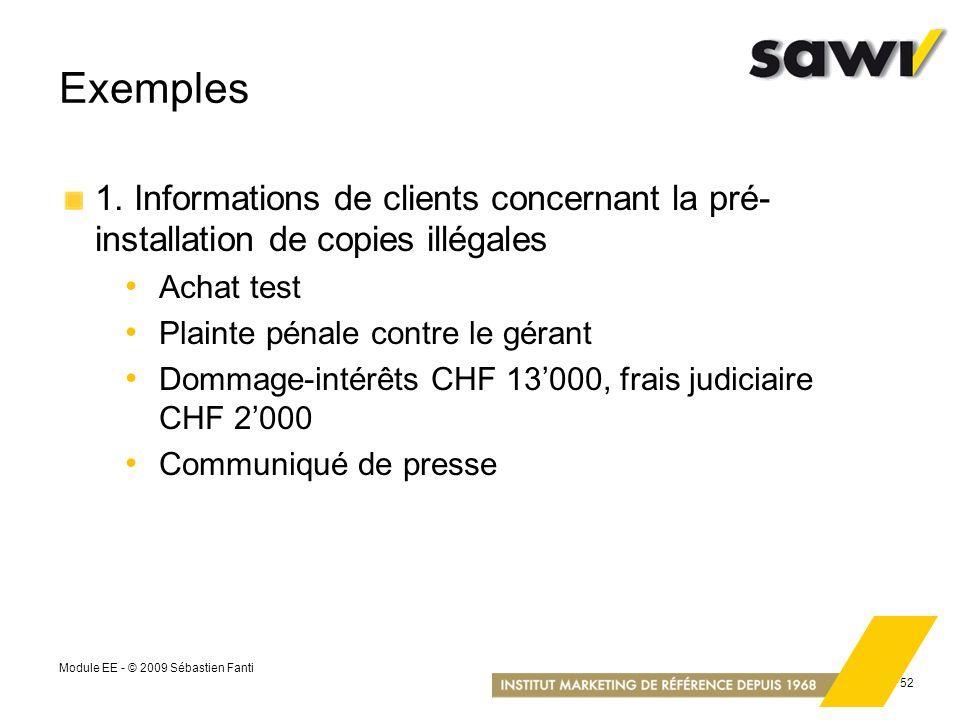 Exemples 1. Informations de clients concernant la pré-installation de copies illégales. Achat test.