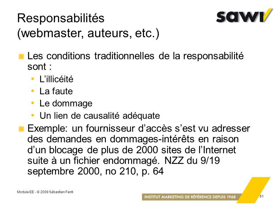 Responsabilités (webmaster, auteurs, etc.)