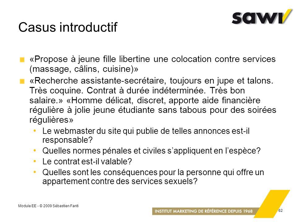 Casus introductif «Propose à jeune fille libertine une colocation contre services (massage, câlins, cuisine)»