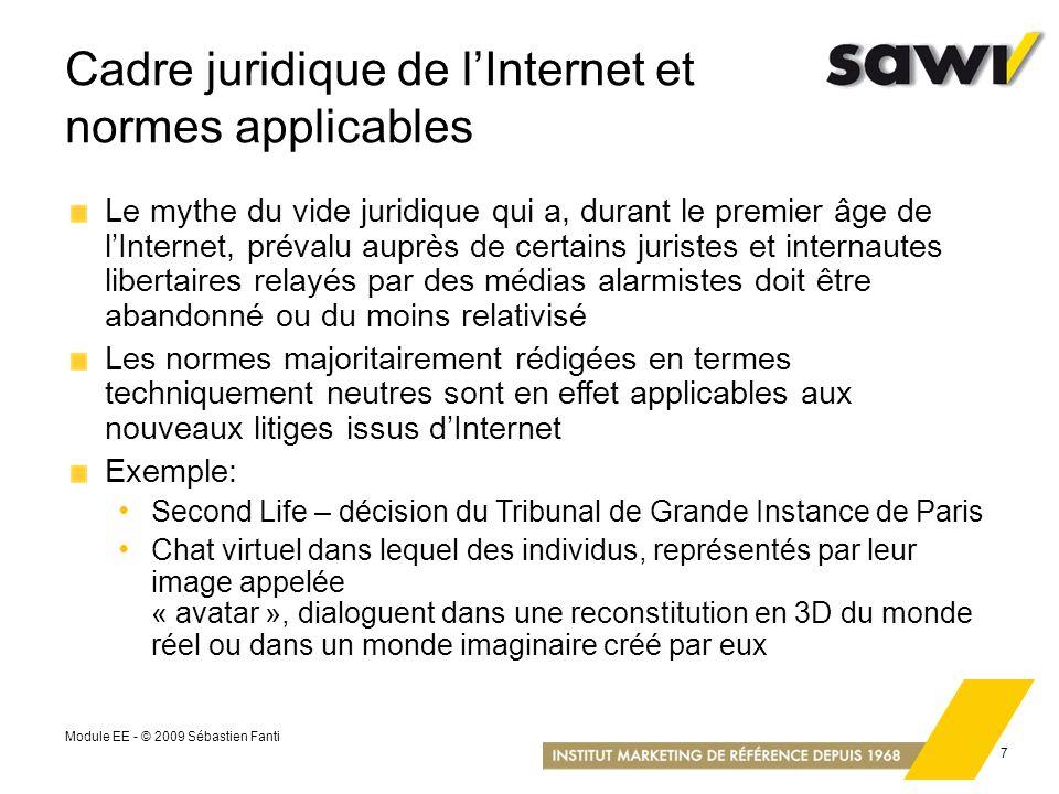 Cadre juridique de l'Internet et normes applicables