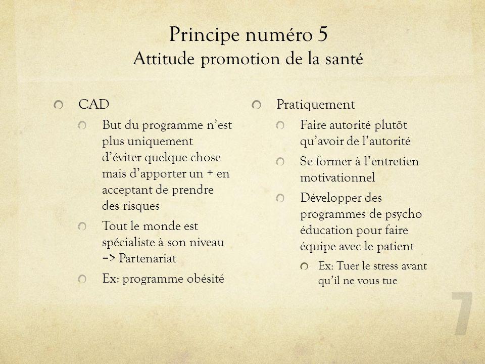 Principe numéro 5 Attitude promotion de la santé
