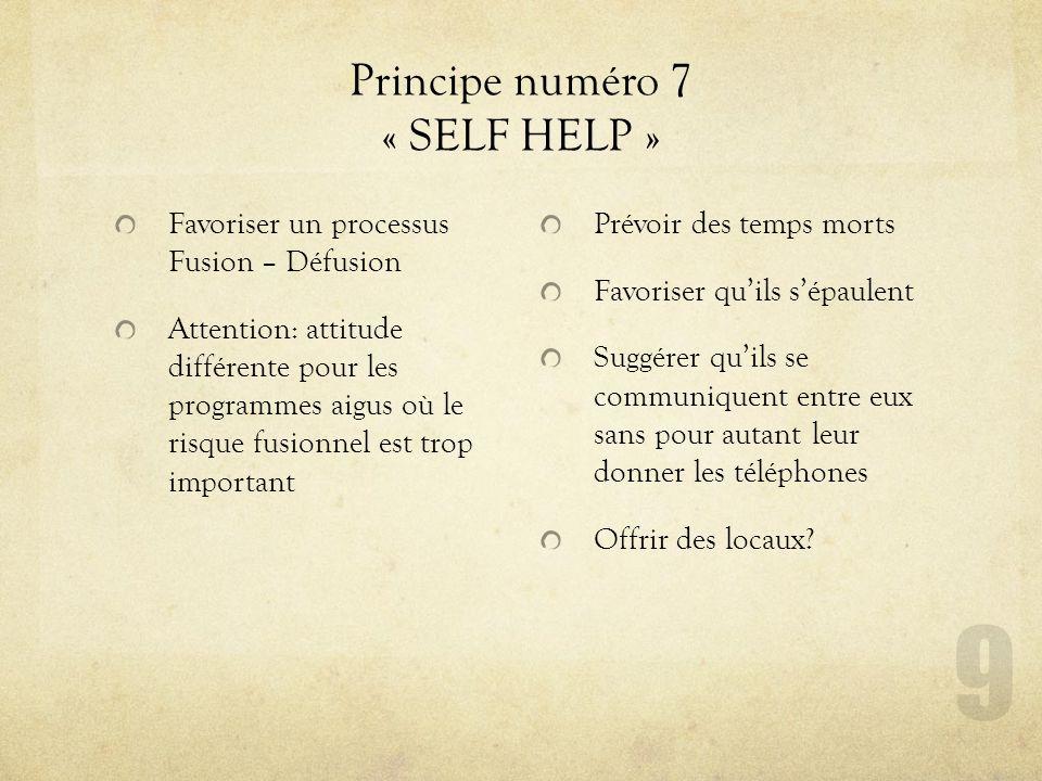Principe numéro 7 « SELF HELP »