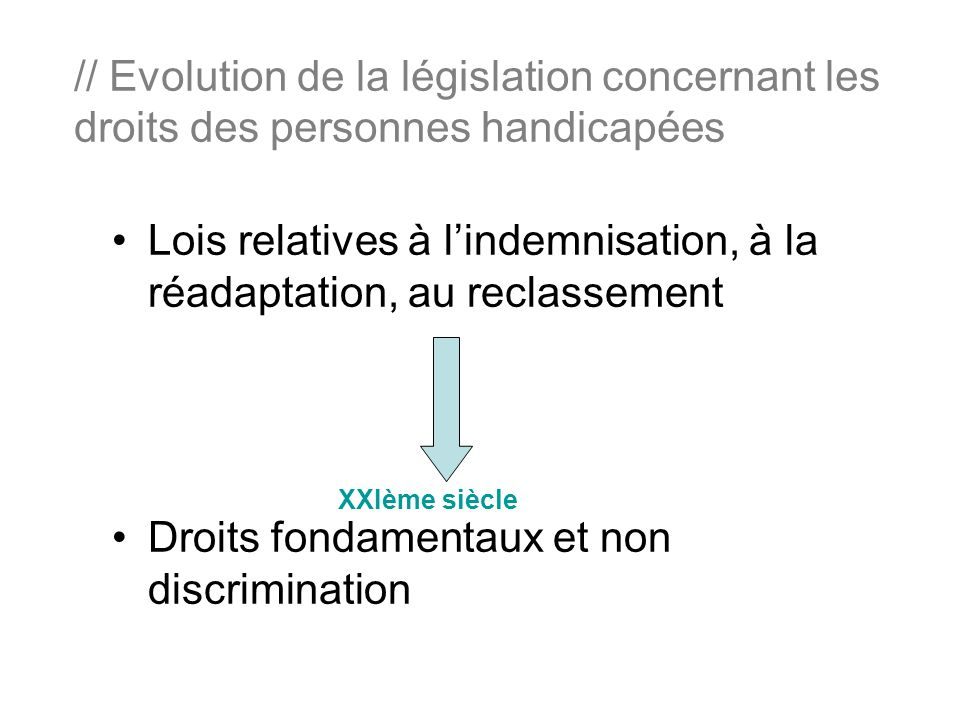 Lois relatives à l'indemnisation, à la réadaptation, au reclassement