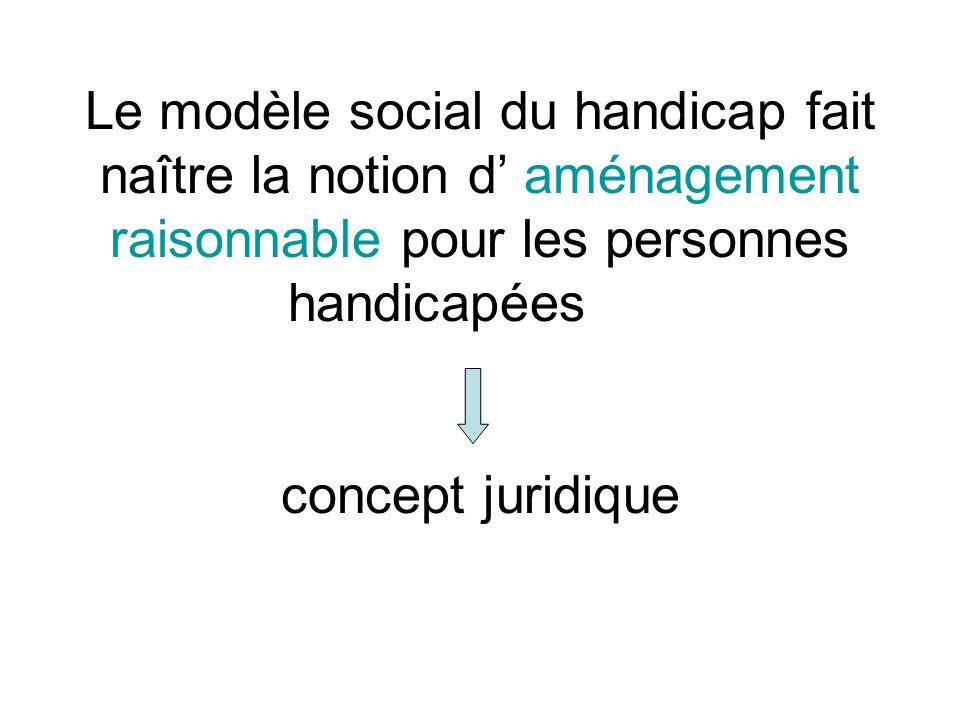 Le modèle social du handicap fait naître la notion d' aménagement raisonnable pour les personnes handicapées concept juridique