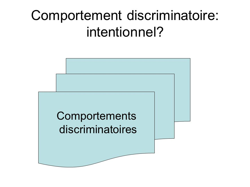 Comportement discriminatoire: intentionnel