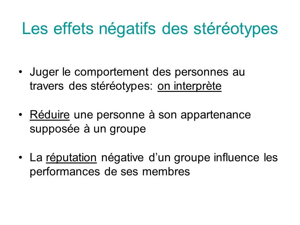 Les effets négatifs des stéréotypes