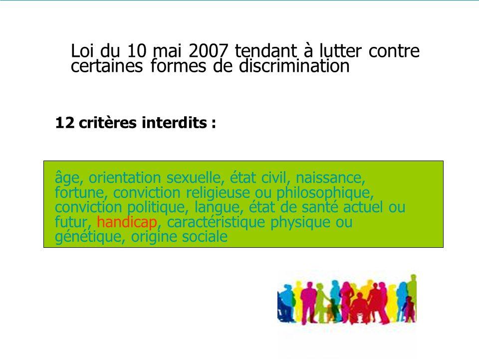 Loi du 10 mai 2007 tendant à lutter contre certaines formes de discrimination
