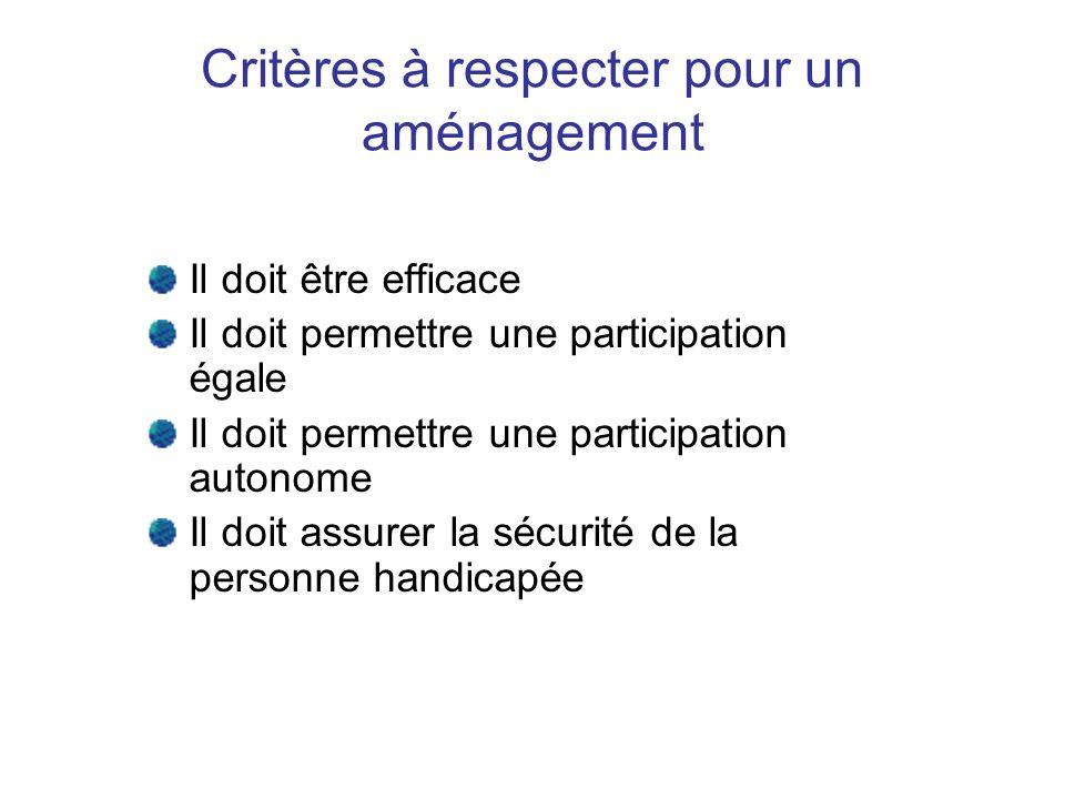 Critères à respecter pour un aménagement
