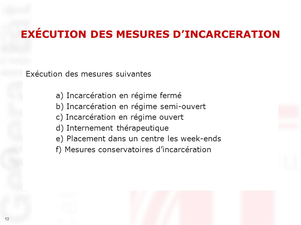 EXÉCUTION DES MESURES D'INCARCERATION