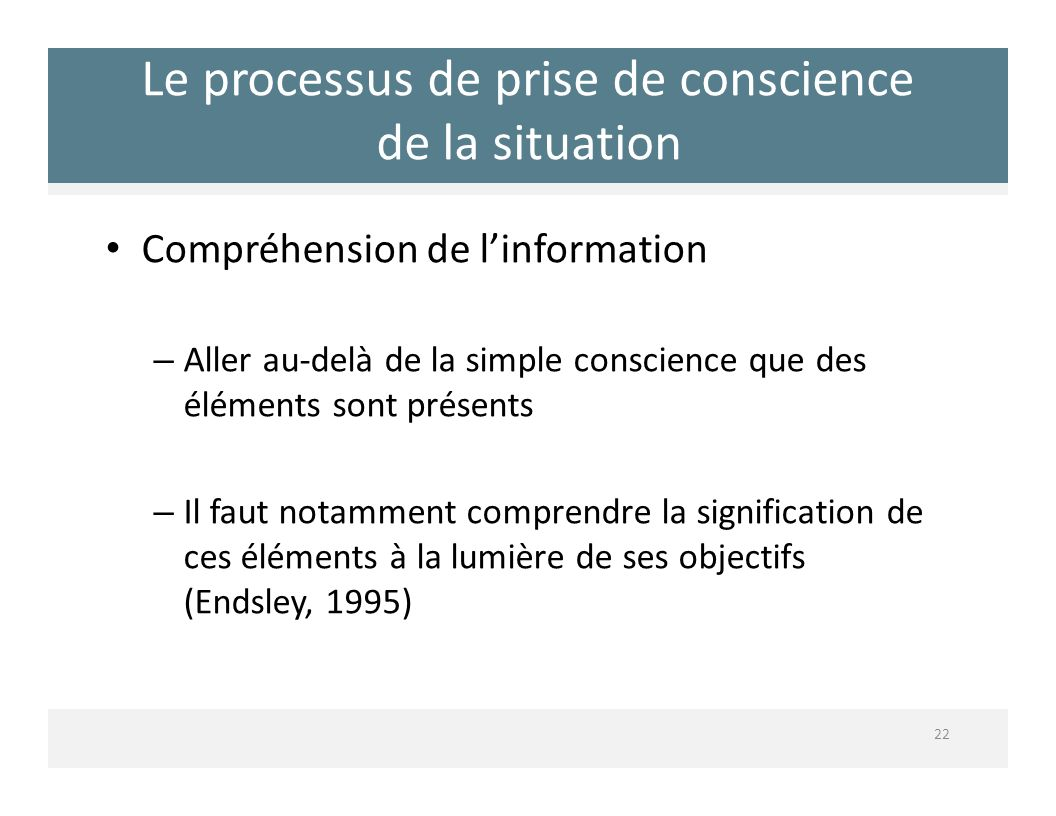 Le processus de prise de conscience de la situation