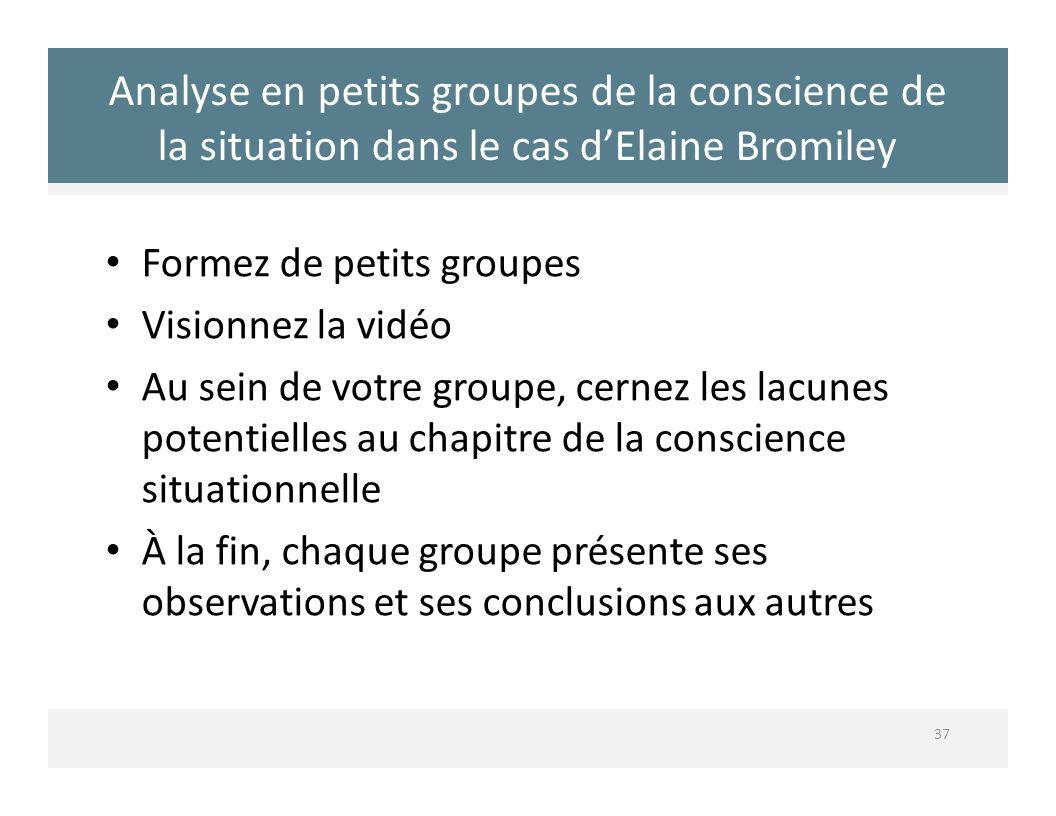 Analyse en petits groupes de la conscience de la situation dans le cas d'Elaine Bromiley