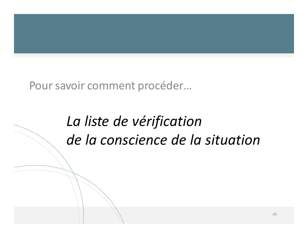 La liste de vérification de la conscience de la situation