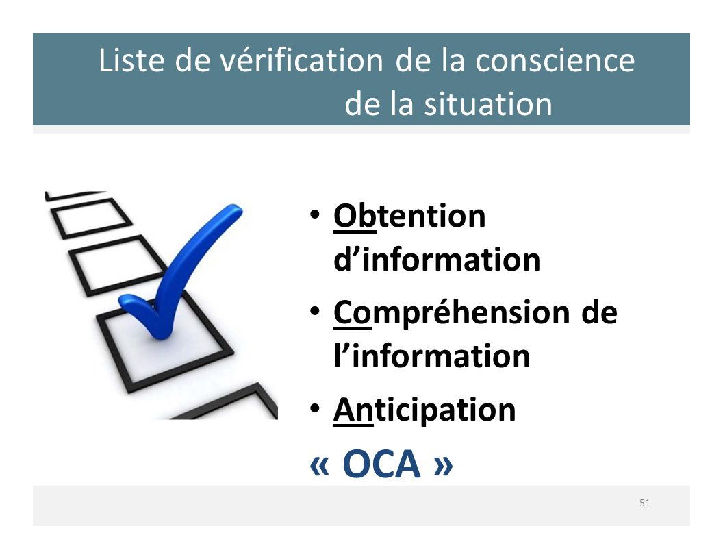 Liste de vérification de la conscience de la situation