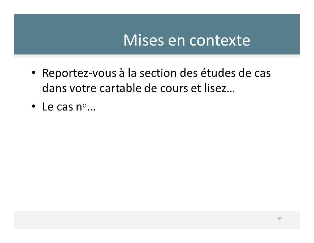 Mises en contexte Reportez‐vous à la section des études de cas dans votre cartable de cours et lisez…