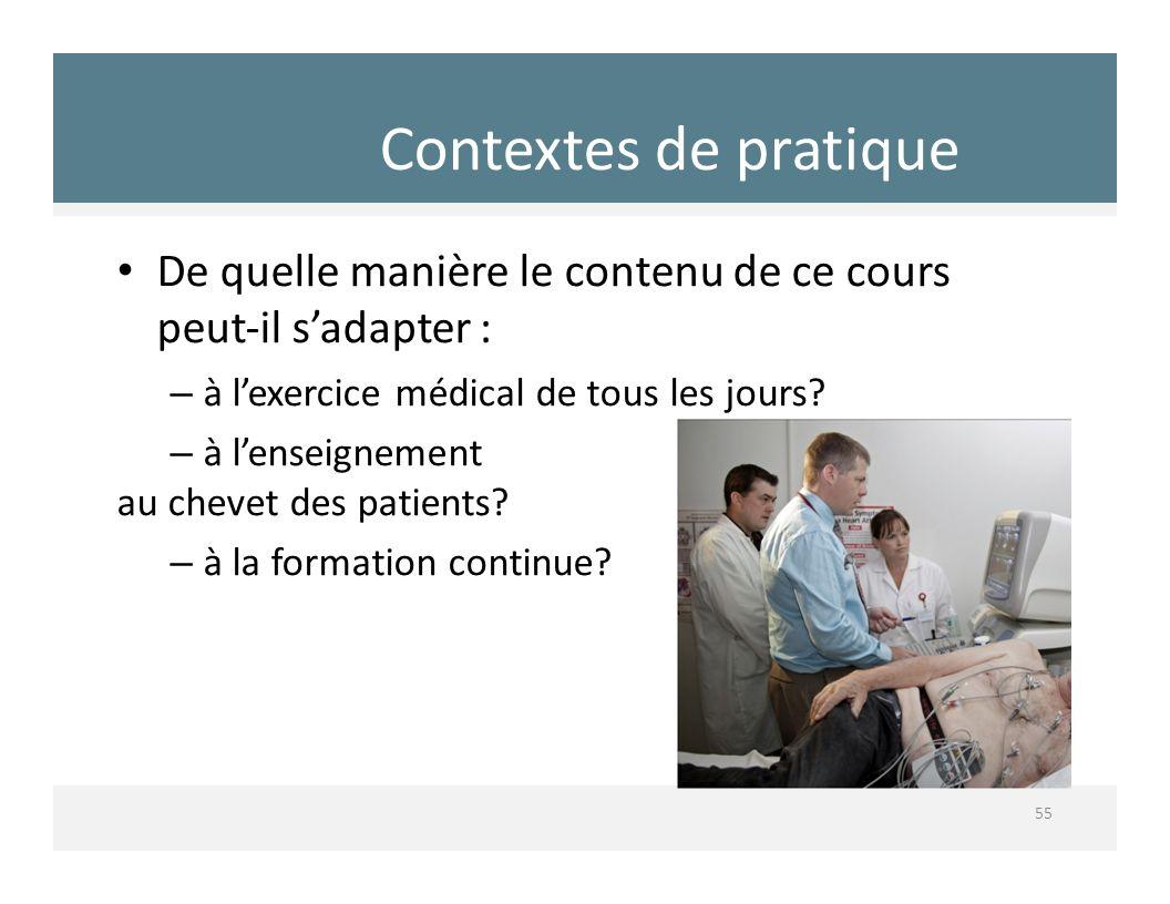 Contextes de pratique De quelle manière le contenu de ce cours peut‐il s'adapter : à l'exercice médical de tous les jours