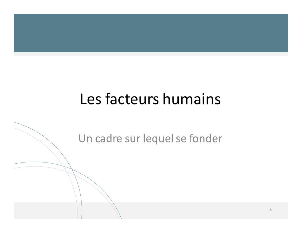 Les facteurs humains Un cadre sur lequel se fonder