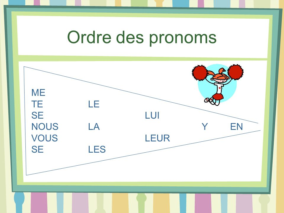 Ordre des pronoms ME TE LE SE LUI NOUS LA Y EN VOUS LEUR SE LES