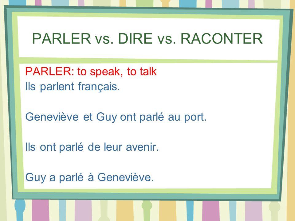 PARLER vs. DIRE vs. RACONTER