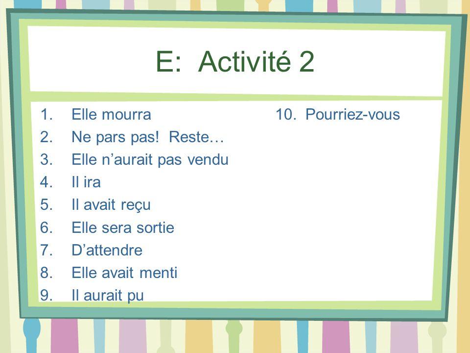 E: Activité 2 Elle mourra 10. Pourriez-vous Ne pars pas! Reste…