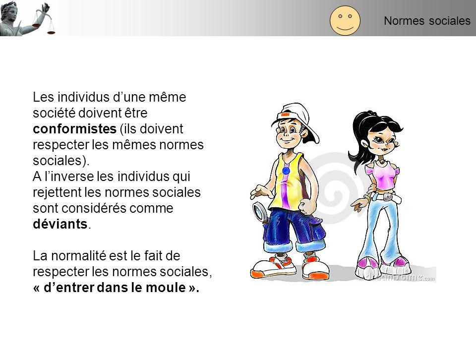 Normes sociales Les individus d'une même société doivent être conformistes (ils doivent respecter les mêmes normes sociales).