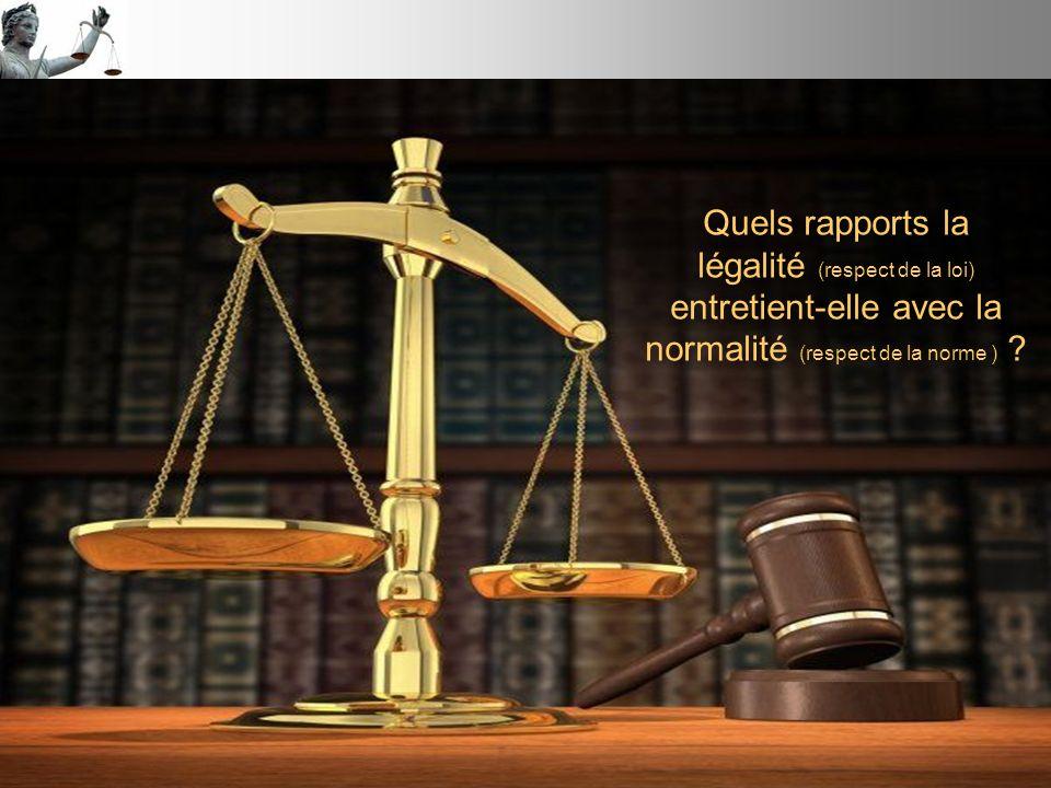 Quels rapports la légalité (respect de la loi) entretient-elle avec la normalité (respect de la norme )