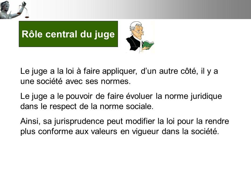 Rôle central du juge Le juge a la loi à faire appliquer, d'un autre côté, il y a une société avec ses normes.