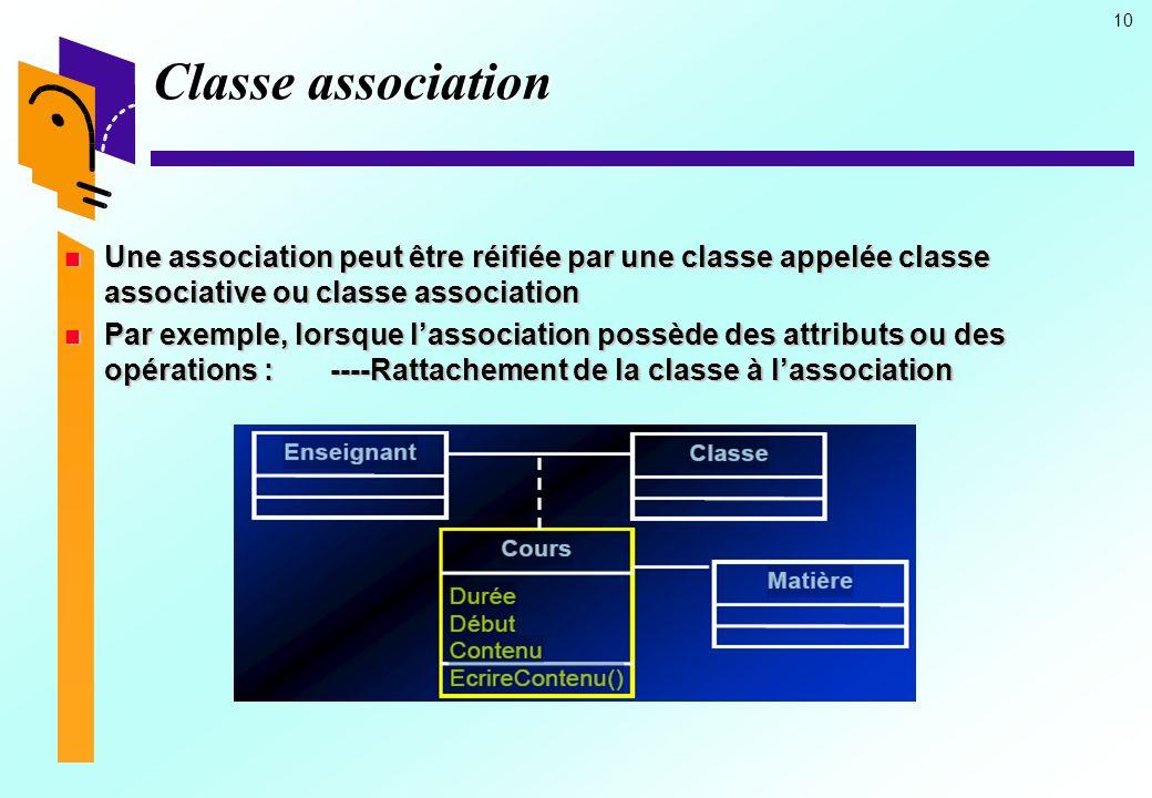 Classe association Une association peut être réifiée par une classe appelée classe associative ou classe association.